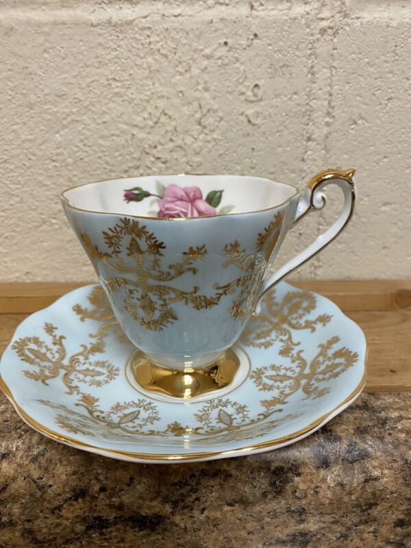 ROYAL STANDARD Rose Teacup & Saucer Set Gold Blue with Pink Rose BEAUTIFUL