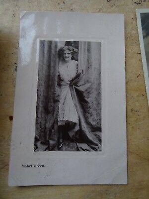 2 Vintage Edwardian Actress Photo Postcards Mabel Green