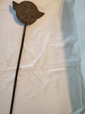 Old World War ll Cast Iron Grave Marker with Flag Stake
