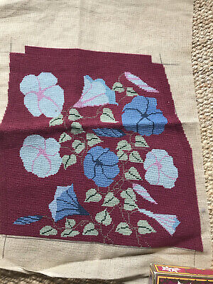 Beautiful Old VINTAGE TAPESTRY NEEDLEPOINT floral Cushion Project Upholstery