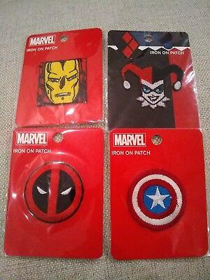 Marvel Iron On Patch Deadpool Captain America Iron Man Harley Quinn