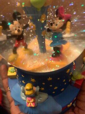 Rare Walt's 100th Disney Musical Birthday Water Globe Mickey, tinker - Birthday Snow Globes