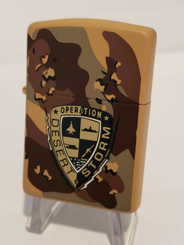 1990 Vintage Zippo Military Lighter OPERATION DESERT STORM IRAQ Camouflage NEW
