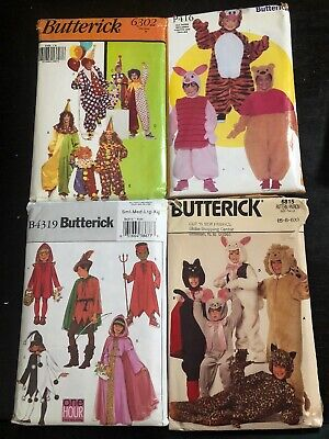Butterick Halloween Sewing Patterns Lot Of 4, Kids And Adults, Pooh, Piglet, Tig - Pooh And Piglet Costumes