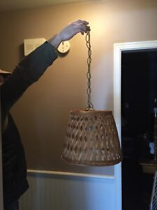 Wicker basket swag lamp - approx 12' .. in working condition