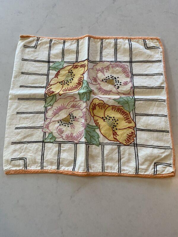 VOGUE Vintage ART DECO Embroidered PILLOWCASE Open Roses ACCENT PILLOW CASE