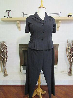 DANNY & NICOLE Blue Stripe 2-Piece Short Sleeve Pant Suit-Size 16