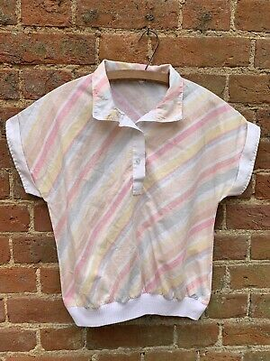 Vintage 70s Intimo Pastel Striped Top Blouse 10 12