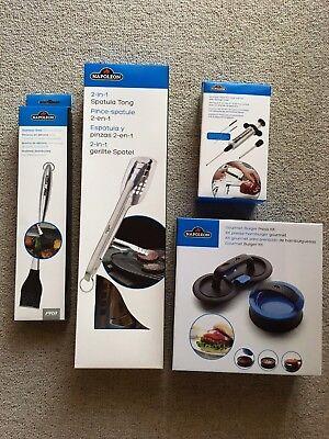 Grillen Kit (Napoleon Einspritzdüse, Stahlbürste, Burger Kit, gerillte Spatel zum Grillen)