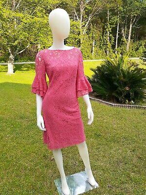 LAUREN RALPH LAUREN Pink 3/4 Bell Sleeve Sheath Lace Dress-Size 10