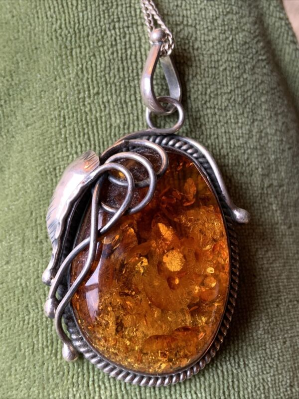 Vintage Baltic Amber Sterling Silver Pendant, Necklace, Leaf, Chain GF