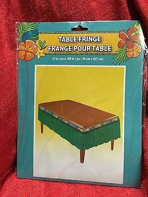 Tropical Luau Table Decoration Green FRINGE GARLAND Tiki Bar Grass 12
