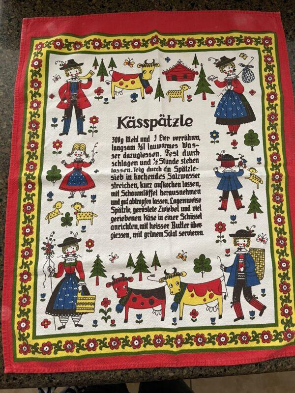 "Vtg Koff German Kasspatzle Recipe Tea Towel 23"" X 19"" New.  German Cows"