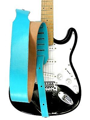 New Adjustable Genuine Leather Strap for Electric Acoustic Bass Guitar Blue