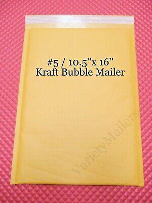 5 Large Kraft Bubble Envelope Mailers 5 10.5x 16 Self-sealing Made In Usa
