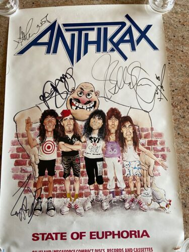 ANTHRAX - AUTOGRAPHED 1988 STATE OF EUPHORIA MEGAFORCE POSTER / CLASSIC LINEUP