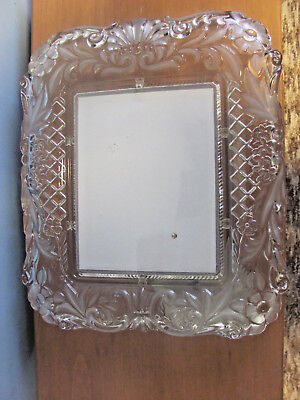 """FROSTED FLORAL CRYSTAL CLEAR GLASS 9"""" X 7"""" PICTURE FRAME"""