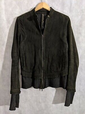 Isaac Sellam Experience Cafe Racer Moto Leather Jacket Wool Lined Size 42 France