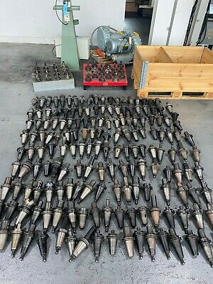 Used Lot Of Over 200 Cat 50 Tool Holders Some W Chucks Some Thru Tool Coolant