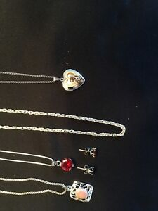 7 pc gold and silver necklaces and watch