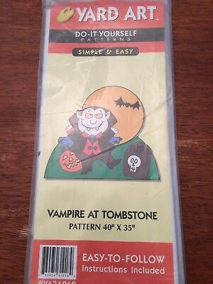 New - Do It Yourself Yard Art Pattern - Vampire At Tombstone - Halloween - Diy Halloween Yard Art