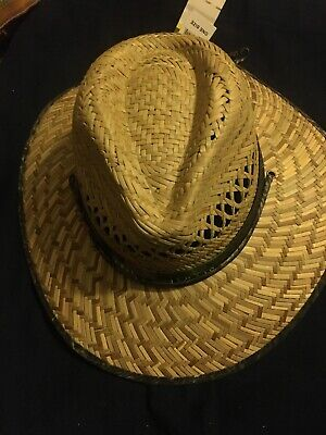 John Deere Woven Straw Cowboy Hat Camouflage Trim Yellow And Green](Camo Straw Cowboy Hat)