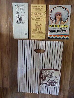 Lot Of 4 Vintage Knotts Berry Farm Memorabilia Map Menu Info Bag Circa 1967 GUC