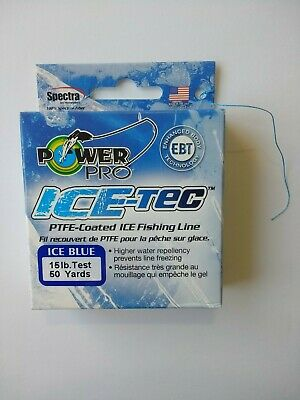 2 Spools NEW Power Pro Ice-Tec Coated Ice Fishing Line 8lb 50 Yd Ice Blue