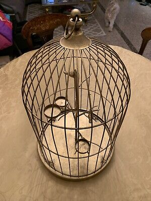 Beautiful House Ornament Bird Cage Tea Light Candle Holder Spray-Painted Gold