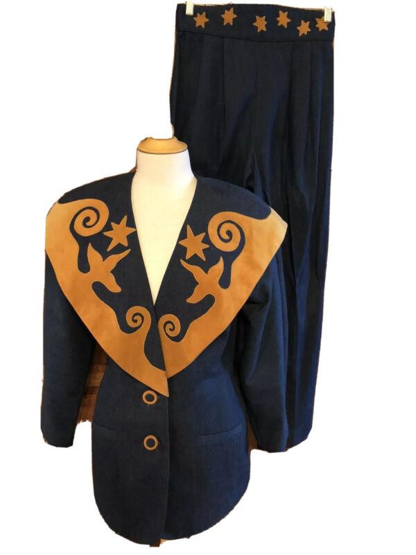 VTG Hairston Roberson ROPA Womens 10 Denim Pants Suit Jacket & Jeans Suede Trim*