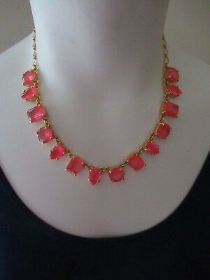 NWT Kate Spade Beautiful 12 K Gold Filled Chain Necklace/ Pink Stones