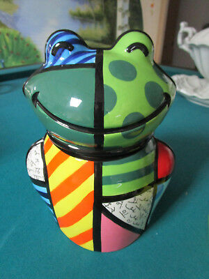 "Romero Britto Cookie Jar FROG 10"" NIB [*a4]"