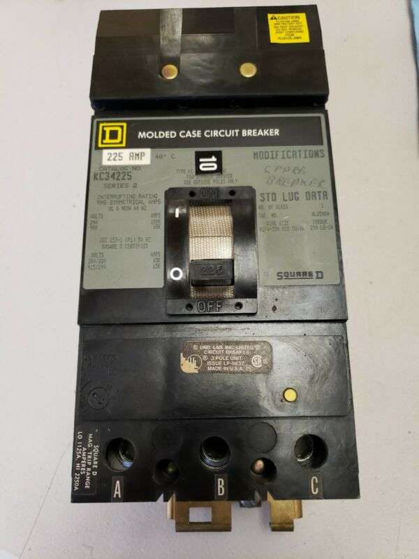 Square D KC34225 Circuit Breaker 3 pole 225 amp 480v I-Line