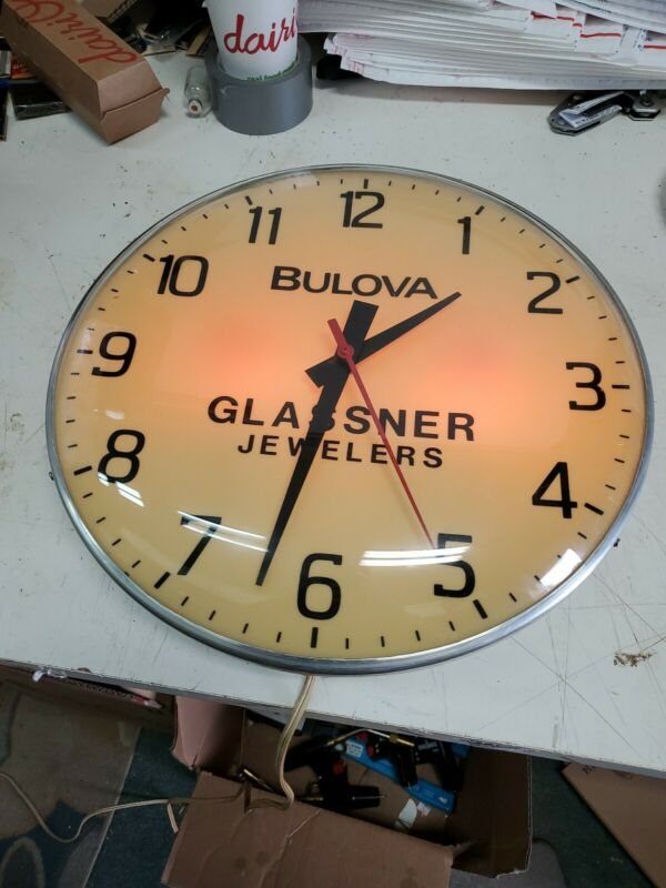 BULOVA Lighted Clock Advertising  Sign glassner Jewelers  PAM Type 15 in bubble