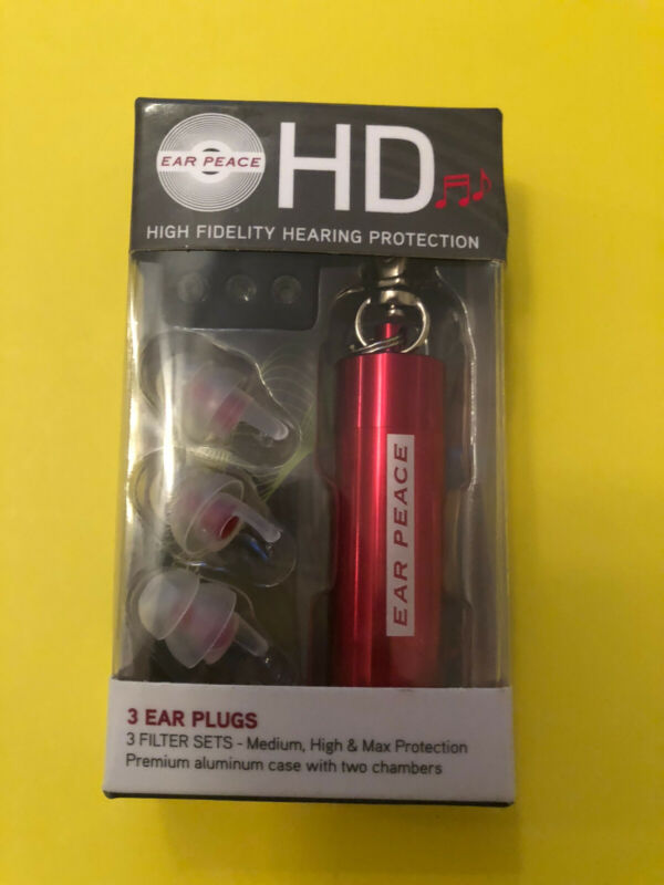 Ear Peace HD Hearing Protection Ear Plugs Earplugs Red Case