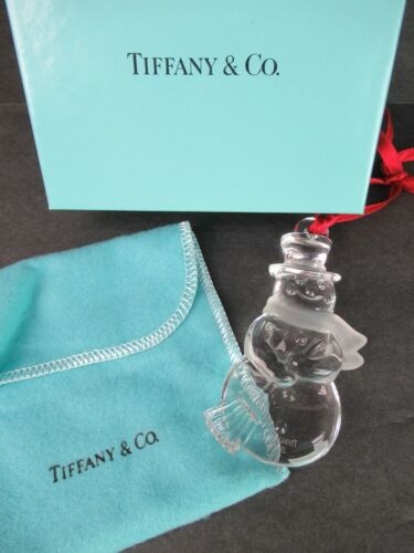 TIFFANY & CO. FROSTY THE SNOWMAN CRYSTAL ORNAMENT 2000 IN ORIG BOX & POUCH
