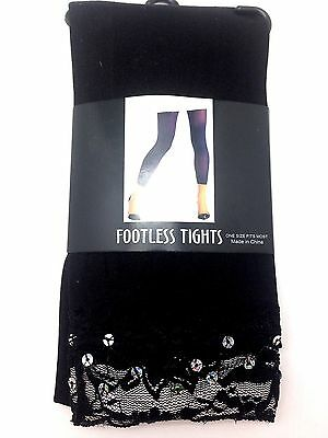 Womens Footless Tights Black One Size Fits Most Pantyhose Hosiery Girl Sparkle
