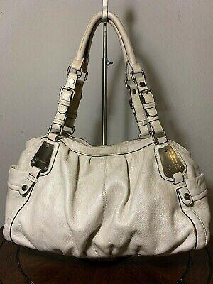 B Makowsky Large Ivory Beige Leather Belted Shopper Shoulder Tote Purse Bag