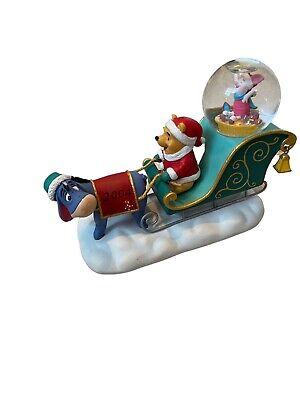 Disney Winnie the Pooh Snowglobe - Eeyore Piglet Christmas Snow Globe 2004 Rare!
