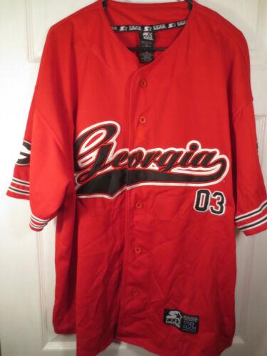 STARTER Georgia Bulldogs UGA NCAA Red Baseball Jersey Size XL