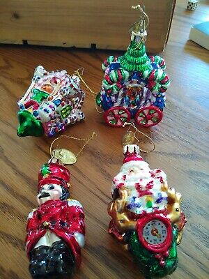 Set 4 2003 Mark Klaus Glass Christmas Tree Ornaments~Santa~soldier~train~house~