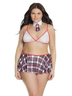 Plus Size Schoolgirl Bralette and Skirt Bedroom Costume Roleplay School Girl Set](Plus Size School Girl Skirts)