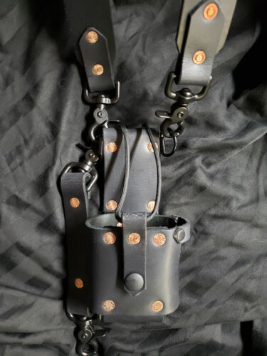 Handmade Leather Radio Strap. Sway, and Bucket with Black Hardware