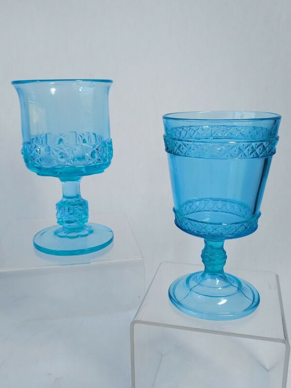 Two Vintage Aqua Blue L.G. Wright Glass Goblets, Daisy & Cube, Diamond