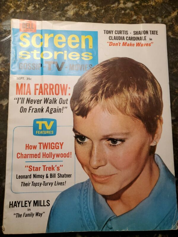 SCREEN STORIES Mia Farrow, Sharon Tate,Tony Curtis Sept. 1967 RARE