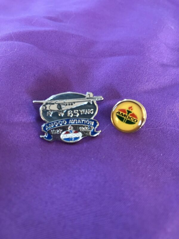 2 Vintage AMOCO Pins 65 Years Silver Gold