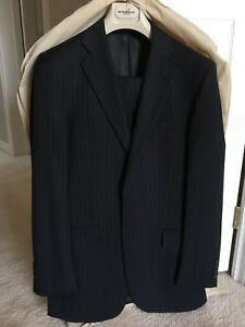 Men's BURBERRY Suit | 36R | W30 | Navy Blue | 100% Wool | EXC+