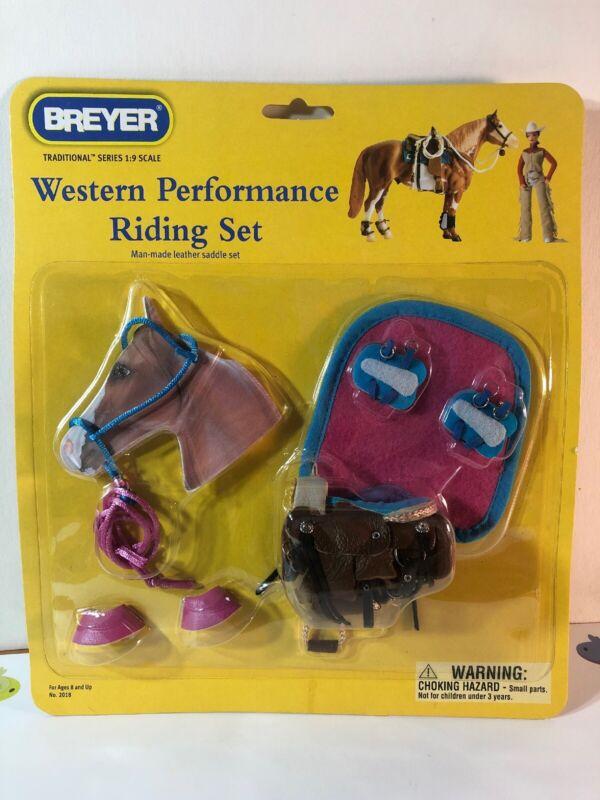 Breyer #2018 Western Performance Riding Set 2007 Leather Saddle Pink Blue New