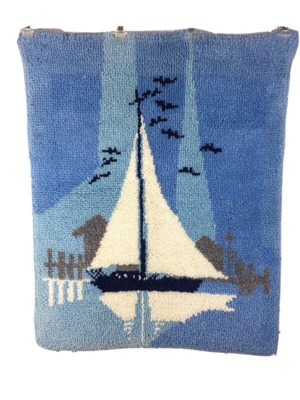 "Latch Hook Completed Rug Wall Hanging Sail Boat Ocean 30"" X 37"""