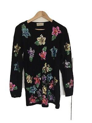 Vintage Style Black Sequin Knit Jumper (Size 8-10)